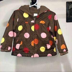 Little girls light jacket hooded brown polka dot